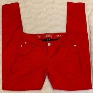 Low Rise Skinny Tango Red Pants Sz 3